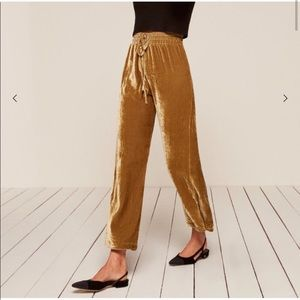 NWT Reformation Velvet Stefan Pant in Gold Size XS